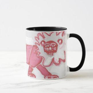 cute contemporary lion coffee mug bold red black