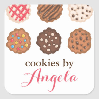 Cute Cookies Cookie Business Bakery Product Label Square Sticker