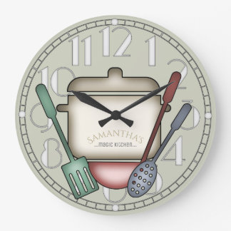 Cute Cooking Pot And Kitchen Utensils Custom Color Large Clock