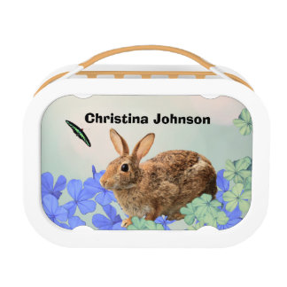 Cute Cool Adorable Bunny Butterfly Floral Custom Lunchbox