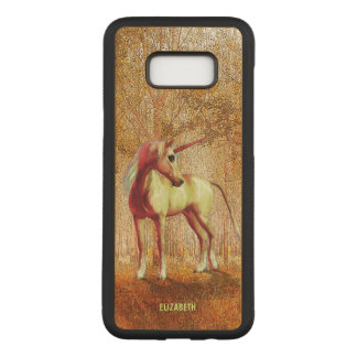 Cute Cool Pink Standing Unicorn Symbol Of Purity Carved Samsung Galaxy S8+ Case