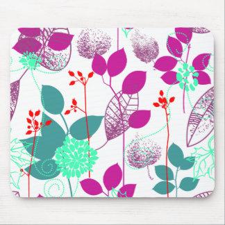 Cute Cool Retro Elegant Aqua Floral Mouse Pad