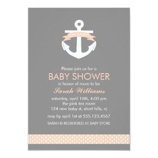 "Cute Coral Anchor Nautical Theme Baby Shower 5"" X 7"" Invitation Card"