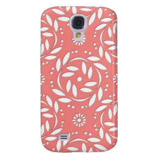 Cute Coral and White Floral Pattern