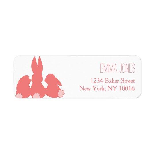 Cute Coral Bunnies Return Address Labels