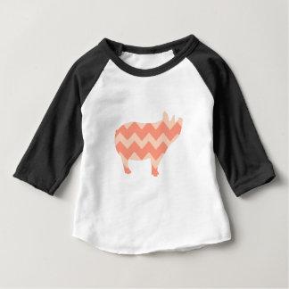 Cute Coral Chevron Pig Baby T-Shirt