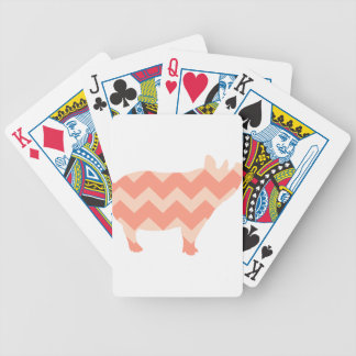 Cute Coral Chevron Pig Bicycle Playing Cards