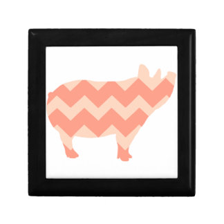 Cute Coral Chevron Pig Gift Box