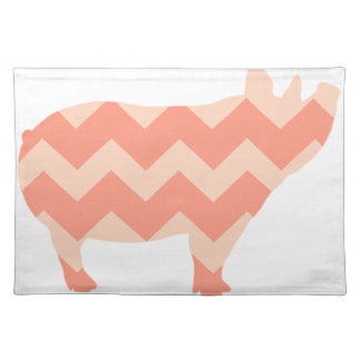 Cute Coral Chevron Pig Placemat