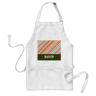 Cute Coral Green Stripes Aprons
