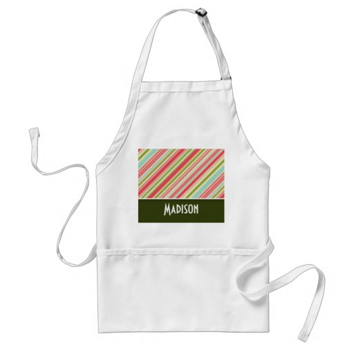 Cute Coral & Green Stripes Aprons