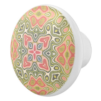 Cute Coral Red Green Yellow Hip Ornate Art Motif Ceramic Knob