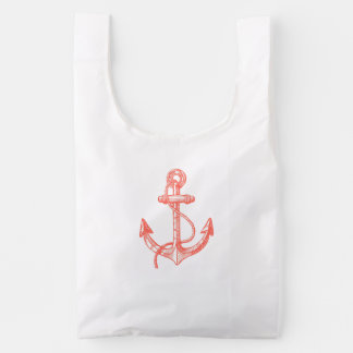 Cute Coral Red Nautical Boat Anchor