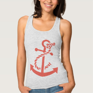 Cute Coral Red Nautical Boat Anchor Illustration Tank Top