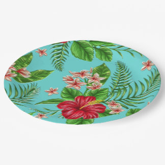 Cute Coral Tropical Hibiscus Flower On Turquoise 9 Inch Paper Plate