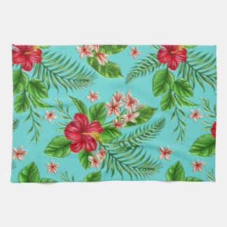 Cute Coral Tropical Hibiscus Flower On Turquoise Hand Towel