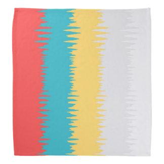 CUTE Coral Turquoise Yellow White Zigzag Stripes Bandana