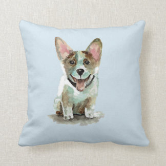 Cute corgi dog puppy watercolor art throw pillow