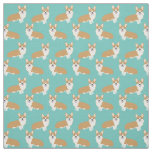 Cute corgi fabric - minty green