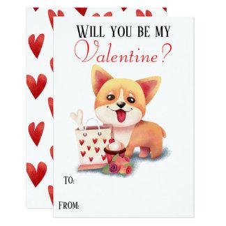Cute Corgi Puppy Be My Valentine Valentines Card