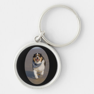 Cute Cori Running on Beach Silver-Colored Round Keychain