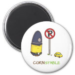 Cute Corn Constable Traffic Police Amusing Pun 2 Inch Round Magnet