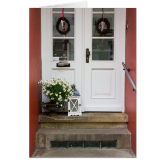 Cute Cottage Door With A Lamp and Flowers Card