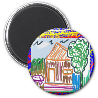 CUTE COTTAGE HOME : KIDS ART 2 INCH ROUND MAGNET
