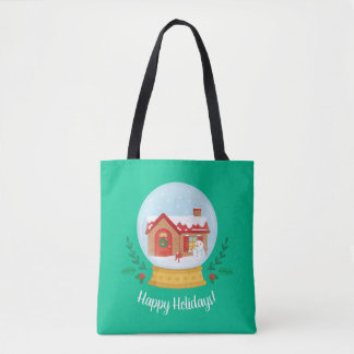 Cute Cottage Snowman Christmas Snow Globe Tote Bag