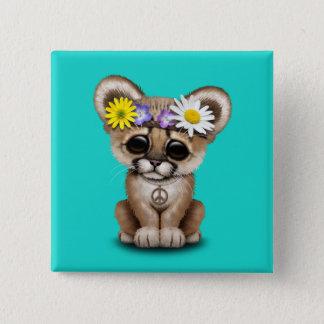 Cute Cougar Cub Hippie 2 Inch Square Button