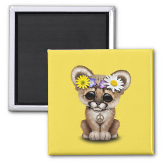 Cute Cougar Cub Hippie Magnet
