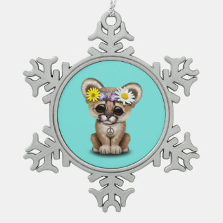 Cute Cougar Cub Hippie Snowflake Pewter Christmas Ornament