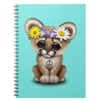 Cute Cougar Cub Hippie Spiral Notebook