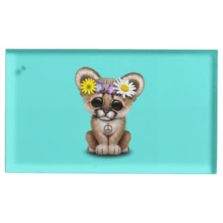 Cute Cougar Cub Hippie Table Number Holder