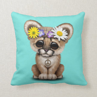 Cute Cougar Cub Hippie Throw Pillow