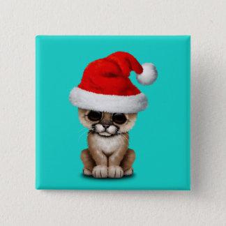 Cute Cougar Cub Wearing a Santa Hat 2 Inch Square Button