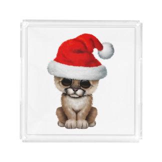 Cute Cougar Cub Wearing a Santa Hat Acrylic Tray