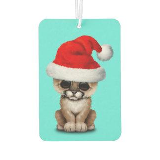 Cute Cougar Cub Wearing a Santa Hat Air Freshener