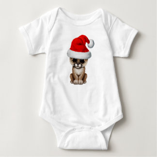 Cute Cougar Cub Wearing a Santa Hat Baby Bodysuit