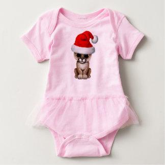 Cute Cougar Cub Wearing a Santa Hat Baby Bodysuit