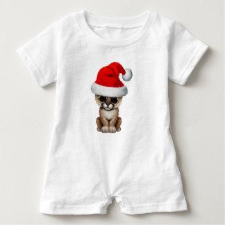 Cute Cougar Cub Wearing a Santa Hat Baby Romper