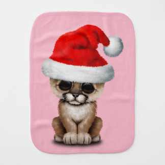 Cute Cougar Cub Wearing a Santa Hat Burp Cloth