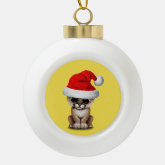 Cute Cougar Cub Wearing a Santa Hat Ceramic Ball Christmas Ornament