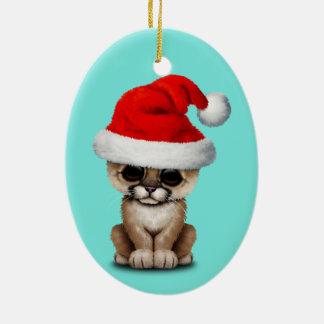Cute Cougar Cub Wearing a Santa Hat Ceramic Ornament