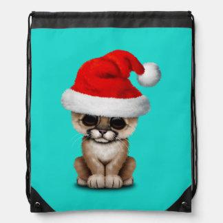 Cute Cougar Cub Wearing a Santa Hat Drawstring Bag