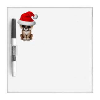 Cute Cougar Cub Wearing a Santa Hat Dry Erase Board