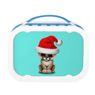Cute Cougar Cub Wearing a Santa Hat Lunch Box