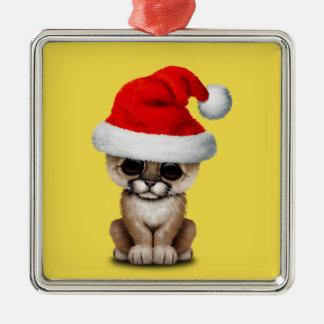 Cute Cougar Cub Wearing a Santa Hat Metal Ornament