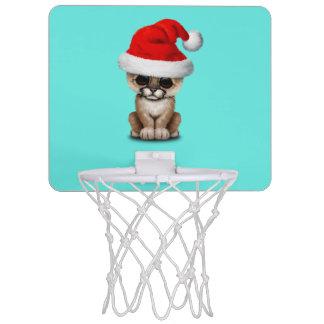Cute Cougar Cub Wearing a Santa Hat Mini Basketball Hoop