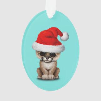 Cute Cougar Cub Wearing a Santa Hat Ornament